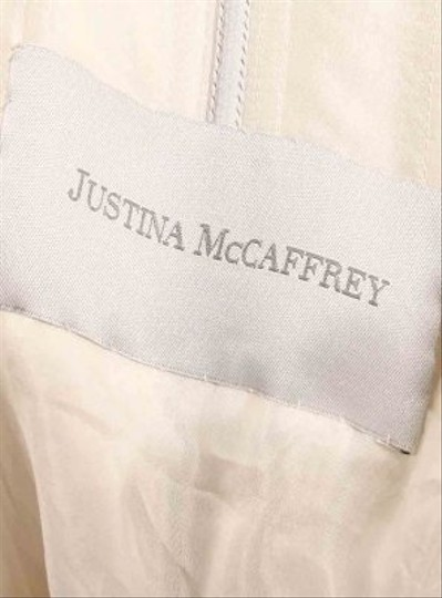 Justina McCaffrey Diamond/Silk White Shantung Kimberly Formal Wedding Dress Size 6 (S)