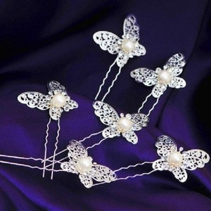 Silver Butterfly And Pearl Hair Pins (set Of 3)