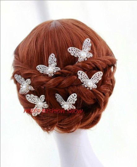 Silver Butterfly and Pearl Pins (Set Of 3) Hair Accessory