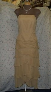 Jordan Fashions Gold Chiffon Short #235 Formal Bridesmaid/Mob Dress Size 12 (L)