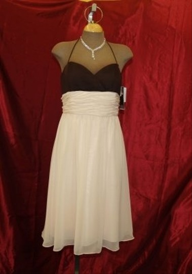 Forever Yours International Chocolate Brown / Champagne Cameo Chiffon Short /Latte Halter Top Sweetheart Neckline Empire Waist Cocktail Destination Bridesmaid/Mob Dress Size 12 (L)