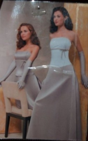 Jordan Fashions Cameo Satin Long Gown with Shawl Cream #911 Dress Size 14 (L)