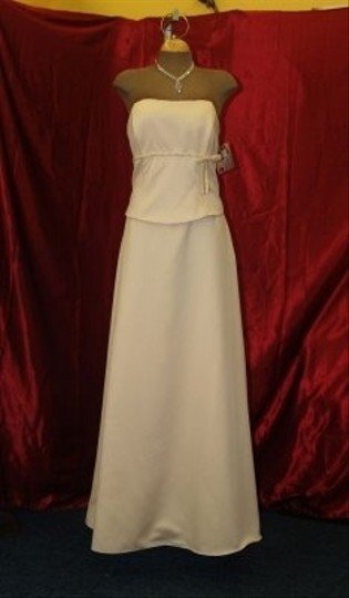 Jordan Fashions Cameo Satin Long Gown with Shawl Cream #911 Bridesmaid/Mob Dress Size 14 (L)