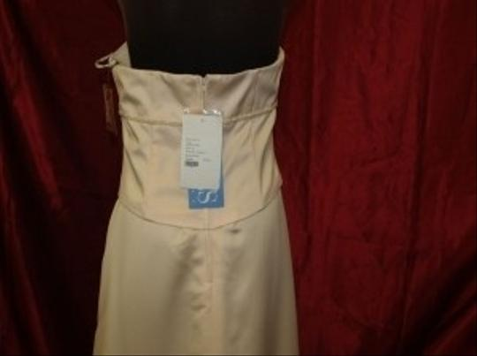 Jordan Fashions Cameo Satin Long Gown with Shawl Cream #911 Formal Bridesmaid/Mob Dress Size 14 (L)