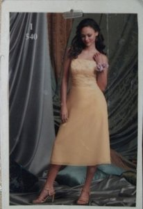 Yellow Chiffon Jordan Maize Short #540 Feminine Bridesmaid/Mob Dress Size 12 (L)