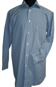 Façonnable Faconnable Long Sleeve Shirt, Blue/White Plaid, Size Large, 16.5