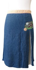 RVCA Denim Retro Owl Jean Skirt Blue
