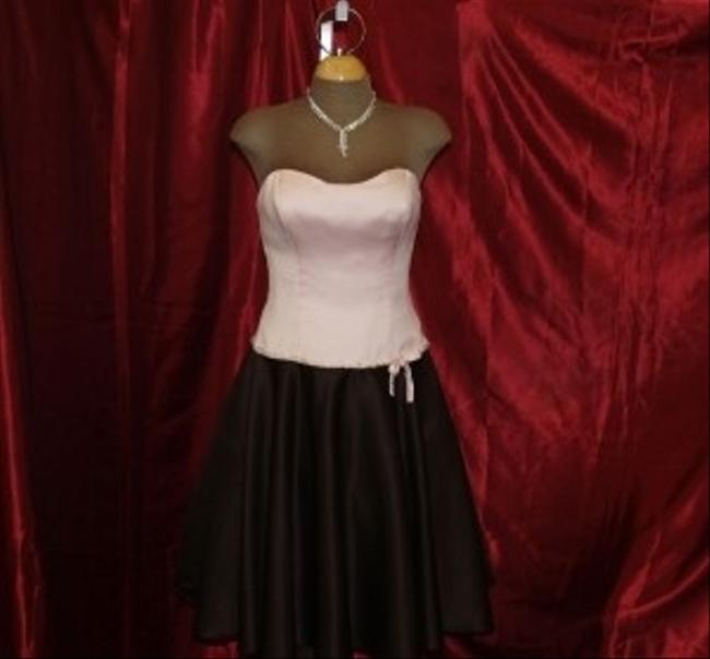 Item - Pink / Chocolate Satin Short Flirty Short Formal Light Strapless Includes Straps Beaded Modern Bridesmaid/Mob Dress Size 4 (S)