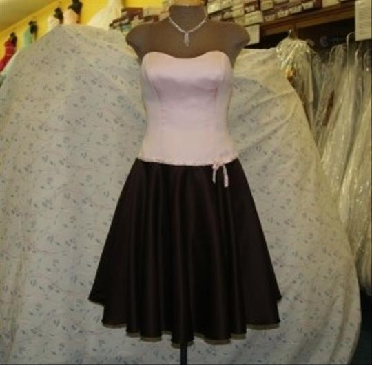 Jordan Fashions Pink / Chocolate Satin Short Flirty Short Light Strapless Includes Straps Beaded Bow Prom Homecoming Modern Dress Size 4 (S)