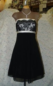 Jordan Fashions Black Jordan Short Dress Size: 6 Black / Light Ivory Lace #723 Dress