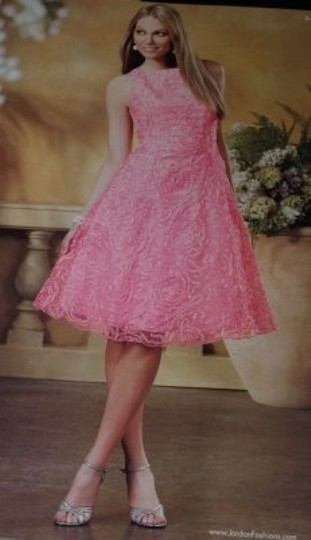 Pink Organza Jordan Short Hot #843 Modern Bridesmaid/Mob Dress Size 6 (S)