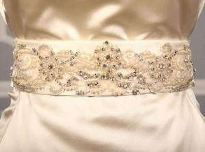 Your Dream Dress Exclusive Crystal Beaded Ivory B537 Satin Sash