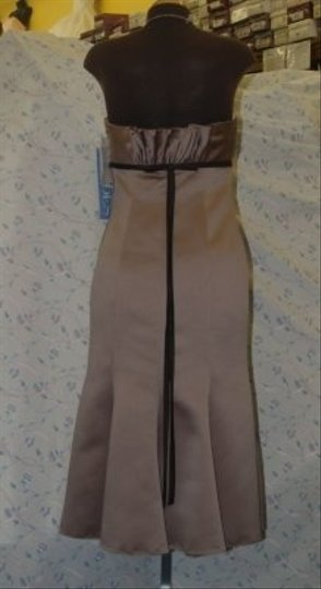 Jordan Fashions Tan Satin Short Capuccino/Chocolate #66 Modern Bridesmaid/Mob Dress Size 6 (S)