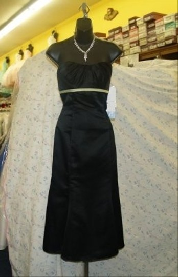 Jordan Fashions Black / Kiwi Green Satin Short Length / #660t Semi Sweetheart Lbd Fitted Style Prom Wear Special Occasion Includes Spaghetti Modern Dress Size 2 (XS)