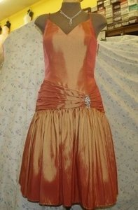 Jordan Fashions Copper Jordan Size: 10 Short Dress Iridescent Copper Oran Dress