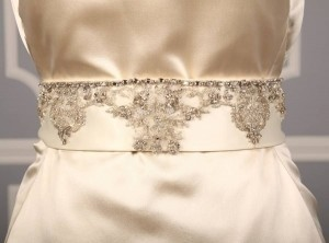 Your Dream Dress Exclusive B536 Crystal Beaded Ivory Satin Sash