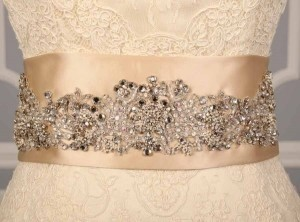 Your Dream Dress Exclusive B521 Crystal Beaded Champagne Satin Sash