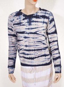 Young Fabulous & Broke Womens Blue White Shaka Tie Dye Sweatshirt Sweater