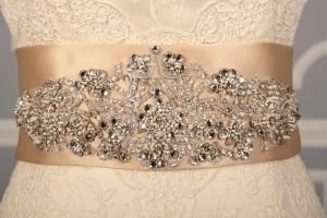 Your Dream Dress Exclusive B525 Crystal Beaded Champagne Satin Sash