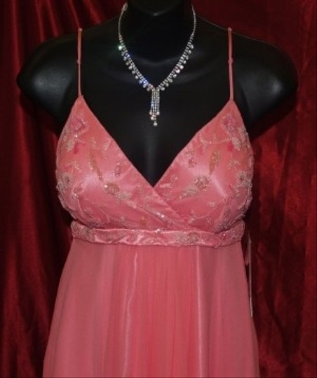 Scala Pink Silk T-length #46564l Formal Bridesmaid/Mob Dress Size 6 (S)