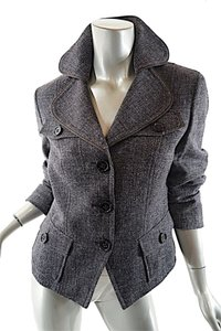 René Lezard Charcoal Tweed Crop Jacket Pockets Brown Tweed Blazer