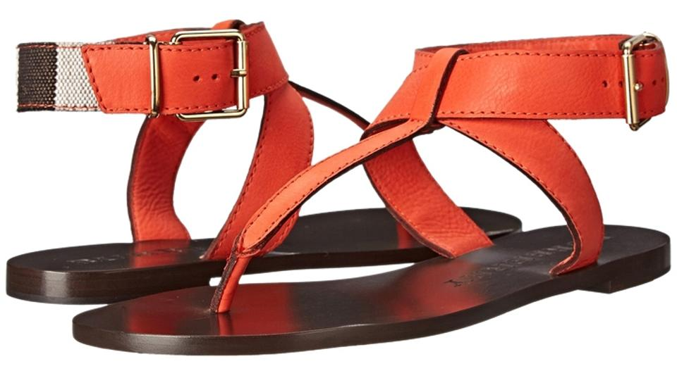 Burberry Orange Kington Vibrant Leather Sandals 40/ Sandals Leather 3eba19