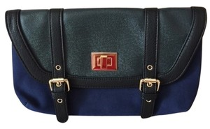 Izzy & Ali Black Blue Suede Gold Hardware Blue Black Clutch