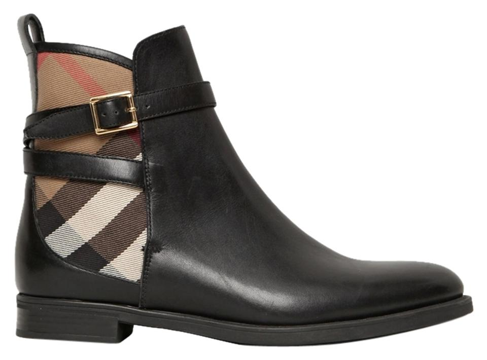 Burberry Black Check Richardson Leather Nova Check Black Ankle 38.5/ Boots/Booties 5f3ad6