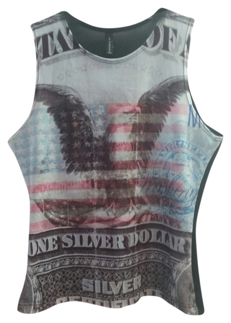 In Touch Usa American Eagle Flag 4th Of July Top Multi