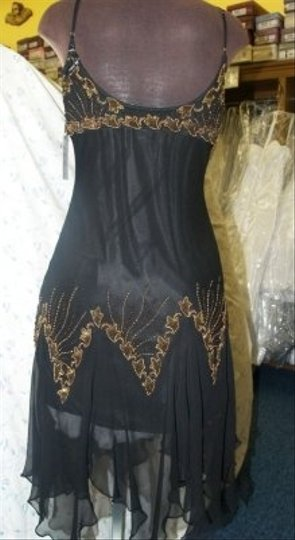 Precious Formals Black Silk Glam Gurlz Small Black/Gold #s5202 Modern Bridesmaid/Mob Dress Size 6 (S)
