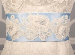 Your Dream Dress Exclusive Beaded Lace Light Blue B526 Satin Sash