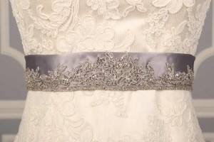 Your Dream Dress Exclusive B522 Silver Embroidered Satin Sash