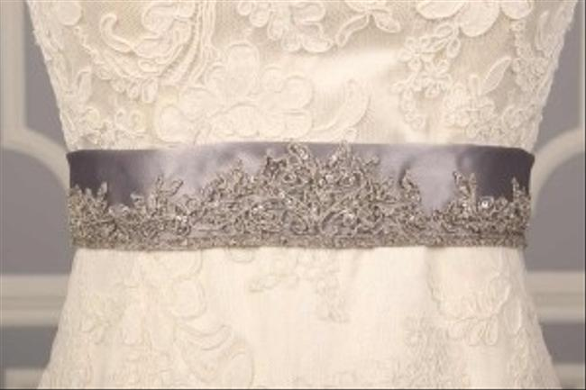 Silver Your Dream Dress Exclusive B522 Embroidered Satin Sash Silver Your Dream Dress Exclusive B522 Embroidered Satin Sash Image 1