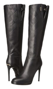 Burberry Becmead Leather Tall Nova Check Embossed Italy Luxury Fabulous Size 6 36 Tall Heel Heels Black Boots