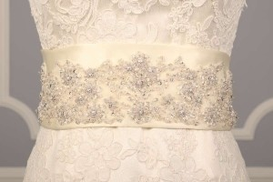 Ivory Your Dream Dress Exclusive B518 Crystal Beaded Satin Sash Sashes