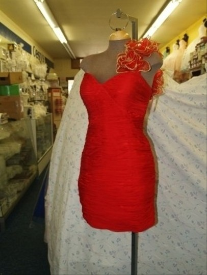 Red Short Dress Red/gold Size 12 #6094 Dress