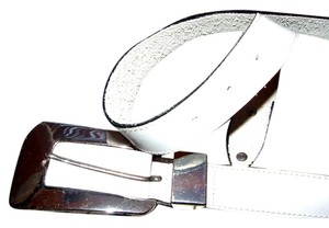 VTG White Leather Belt and Large Retro-MOD Buckle in Chrome