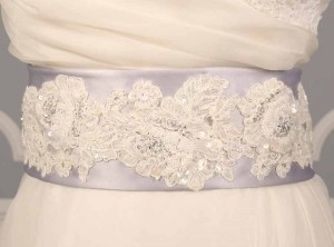 Silver Your Dream Dress Exclusive Beaded Alencon Lace B511 Sash