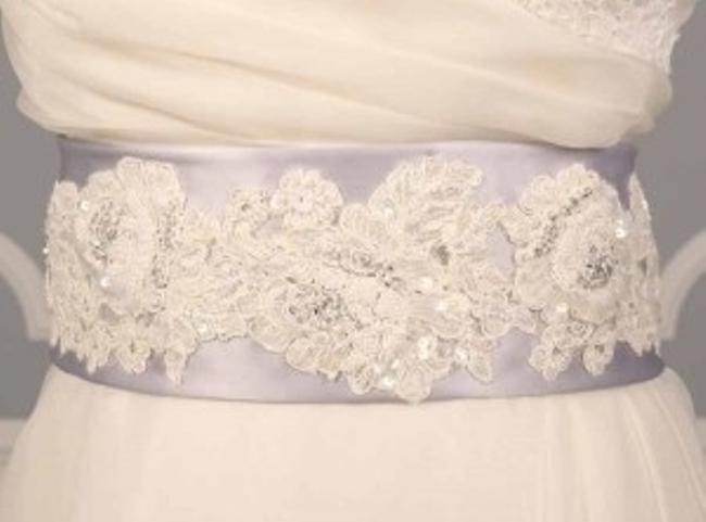 Silver Your Dream Dress Exclusive Beaded Alencon Lace B511 Sash Silver Your Dream Dress Exclusive Beaded Alencon Lace B511 Sash Image 1