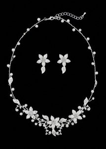 Ivory/Sterling Silver Oleg Cassini Crystal and Pearl Floral Necklace And Jewelry Set