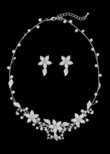 Preload https://img-static.tradesy.com/item/47753/ivorysterling-silver-oleg-cassini-crystal-and-pearl-floral-necklace-and-jewelry-set-0-0-540-540.jpg