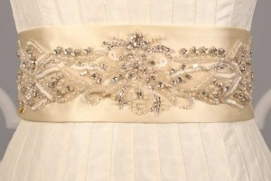 Your Dream Dress Exclusive Crystal Beaded Ivory B533 Satin Sash