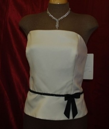 Diamond/Black Satin Corset Top By Jordan Wht/Blk # T0 Formal Bridesmaid/Mob Dress Size 14 (L)