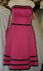 Forever Yours International Fuchsia/Black Fuschia/black Strapless Short Dress Size:16 #78111 Plus Size 16 Fuchsia Black Stripes Beaded Bridesmaids Prom Dress