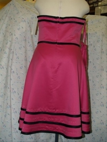 Forever Yours International Fuchsia/Black Satin Fuschia/Black Strapless Short #78111 Stripes Beaded Prom Modern Bridesmaid/Mob Dress Size 16 (XL, Plus 0x)
