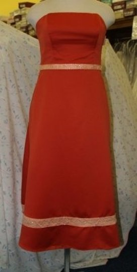 Forever Yours International Orange Satin Strapless Short Burn #76259 Formal Bridesmaid/Mob Dress Size 14 (L)