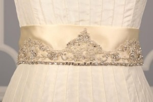 Your Dream Dress Exclusive Crystal Beaded Cream B500 Satin Sash