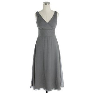 J.Crew Grey Silk Sophia Bridesmaid/Mob Dress Size 14 (L)