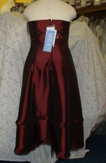 Jordan Fashions Wine Taffeta Short #429 Plus Strapless Homecoming Prom Flirty Special Occasion Wear Bridesmaid/Mob Dress Size 14 (L)