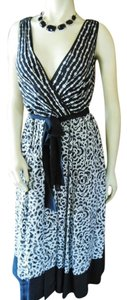 Alfani short dress Black & Off White Silk Midi Tank Size 4 Belt on Tradesy